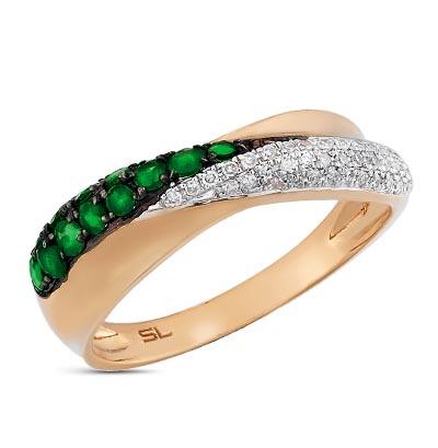 Фото «золотое кольцо с корундами синтетическими, топазами и изумрудами»