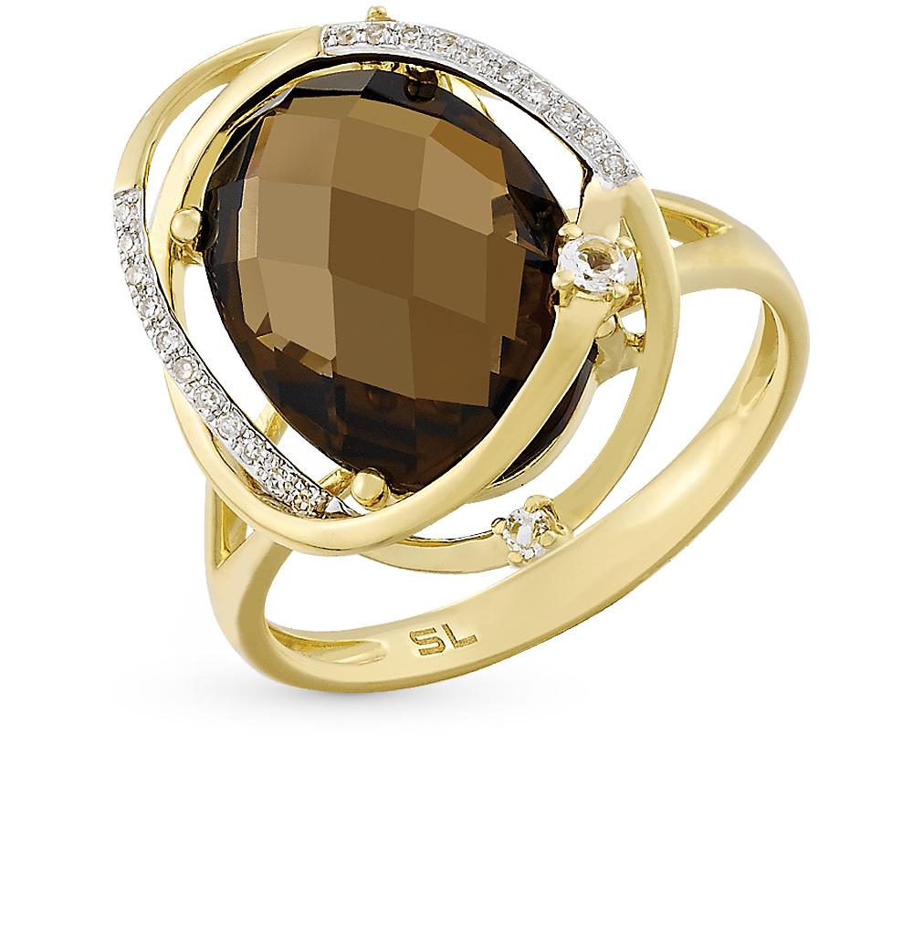 Фото «золотое кольцо с топазами, раухтопазами (кварцами дымчатый) и бриллиантами»
