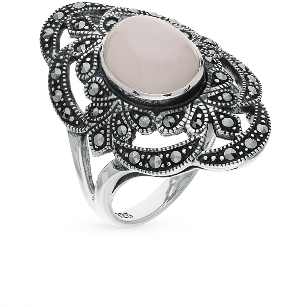 Фото «серебряное кольцо с кварцами и марказитами»