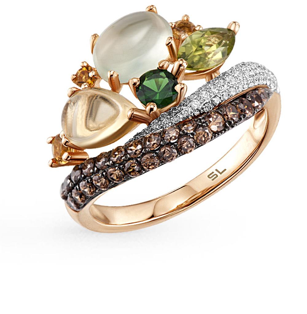золотое кольцо с пренитами, гранатом, цитринами и бриллиантами SUNLIGHT