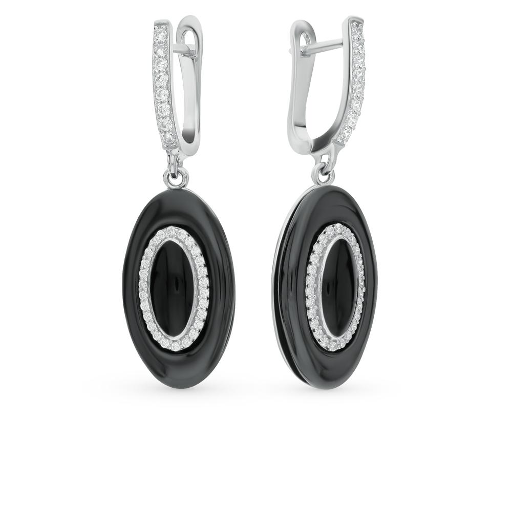 Фото «серьги из серебра с фианитами и керамикой»