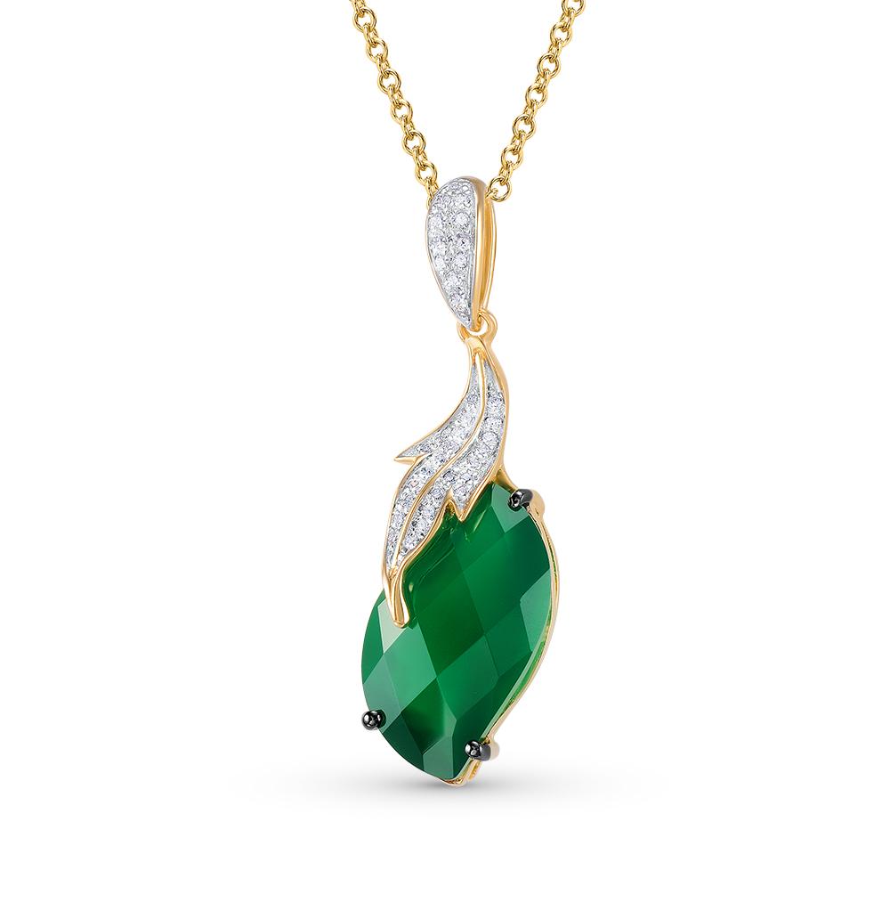 Фото «золотая подвеска с агатом и бриллиантами»