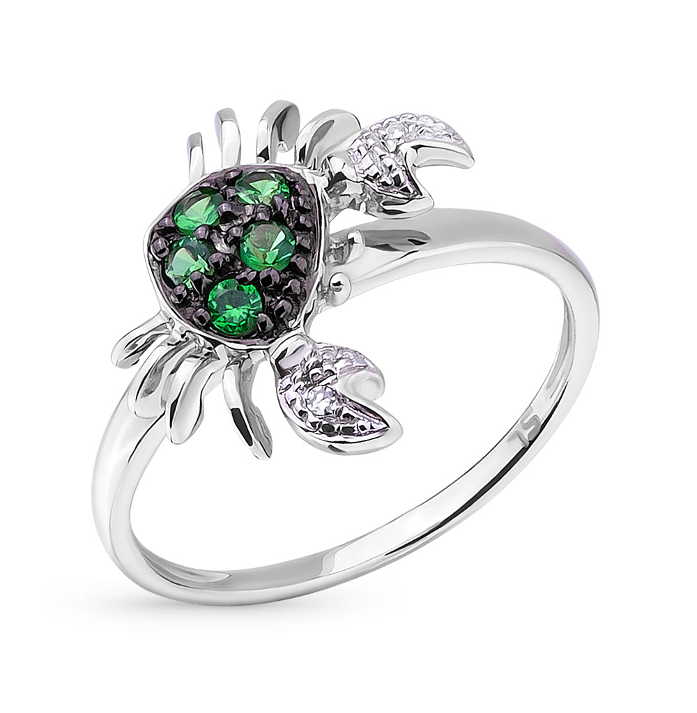 Фото «золотое кольцо с цаворитами и бриллиантами»