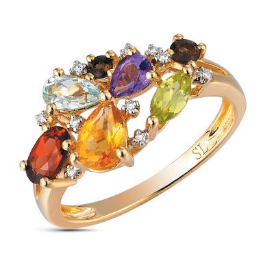 золотое кольцо с аметистом, гранатом, цитринами, топазами, хризолитом, раухтопазами (кварцами дымчатый) и бриллиантами SUNLIGHT