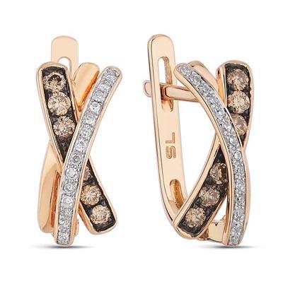 Фото «золотые серьги с коньячными бриллиантами и бриллиантами»