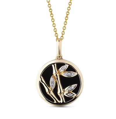 Фото «золотая подвеска с ониксом и бриллиантами»