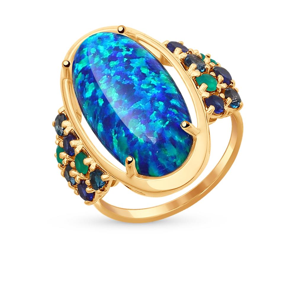 Фото «золотое кольцо с корундом, опалами, топазами и агатом»