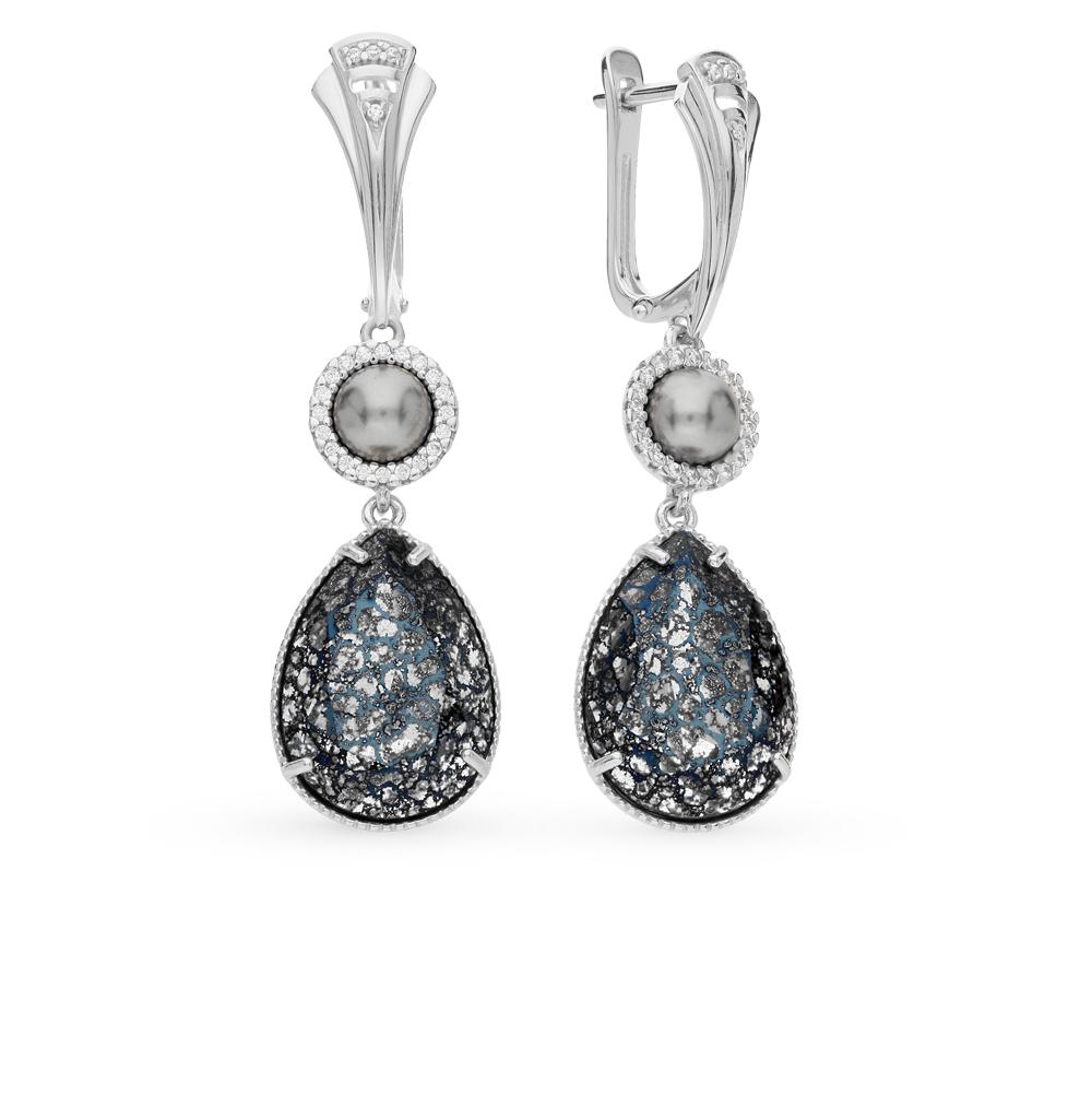Фото «серебряные серьги с фианитами, кристаллами swarovski и жемчугами имитациями»