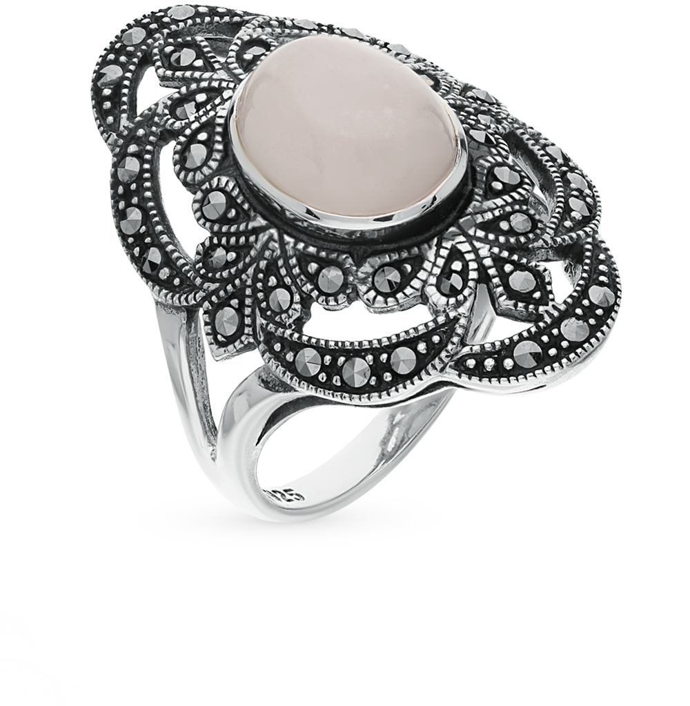 Фото «серебряное кольцо с марказитами и кварцем»